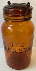 1892 THE LEADER AMBER FRUIT JAR with matching LID & CLAMP