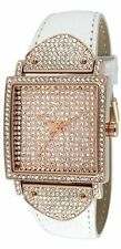 PEUGEOT WHITE CROC LEATHER BAND+ROSE GOLD TONE DIAL+CRYSTAL PAVE WATCH J5667RG
