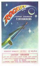 GENUINE FIRECRACKER FIREWORK LABEL ROCKET VINTAGE BRICK MACAU 6X10 SPACE AGE