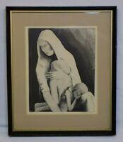 # D McKithick 1974 Woman Wood Block Art Print Vintage OLD Child Children SIGNED