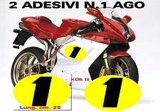 Kit 2 adesivi per moto MV AGUSTA numero 1 ago ottima qualità