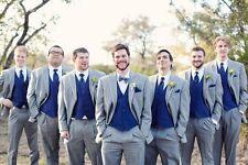 Hot Light Grey Wedding Men Suits Royal Blue Vest Groomsmen Suit Groom Tuxedos