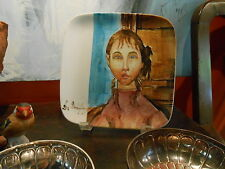 "Signed ""Modigliani"" Mid-century Style Sq. Plate with Portrait--Handpainted!"
