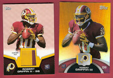 ROBERT GRIFFIN III RG3 ROOKIE JERSEY PATCH CARD& TOPPS CHROME REFRACTOR REDSKINS