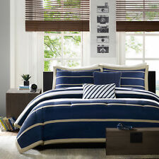 MODERN BLUE WHITE STRIPE SOFT BOYS COMFORTER SET &  PILLOW FULL / QUEEN , TWIN
