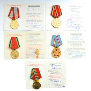 5 x Medaillen mit URKUNDE Zeichen Orden Ehrenzeichen Abzeichen Auszeichnungen