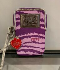Coach Poppy Wristlet/Universal Case Purple Graphic zipper top keytag Pre-Owned