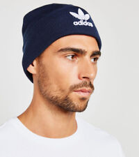Adidas Originals Trefoil Knit Beanie Blue Fold Up Brim BK7639 Hat Cap