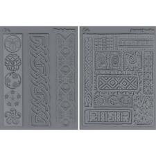 2 Pack Lisa Pavelka Texture Stamp Mold Sheet Mat Polymer Clay CULTURAL Ancient