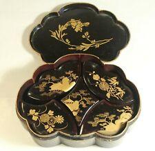 More details for antique c1890 japanese thick gold lacquer trinket boxes set puzzle casket