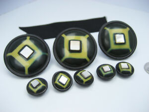 Antique Old Green Black Celluloid MOP Mother of Pearl Buttons Coat / Jacket Set