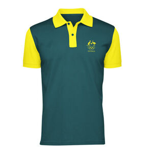 AOC Australian Olympic Adults L Supporter Polo Shirt/Top Sport Green/Gold