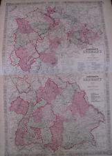 Hand Colored Map Johnson's Atlas Germany No. 2 & 3 Nuremberg Dusseldorf 1863