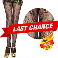 Women Black Sheer Gothic Small Rose Floral Lace Fishnet Stockings Pantyhose OS