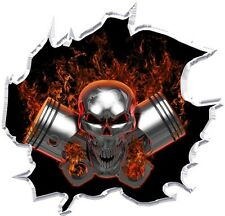 Machine head skull pistons flame skull cornhole game board vinyl graphic decals