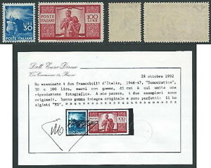 1945-48 ITALIA DEMOCRATICA 30 E 100 LIRE MNH ** CERTIFICATO DIENA - IE002