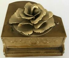 Vintage Metal Ornate Piano Music Box with Beautiful Gold Metal Rose On Top