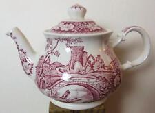 """Vintage Sadler Windsor """"Brigadoon"""" Red & White Tea pot Old Castle Scene 10"""""""