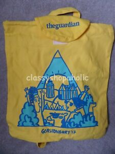 Glastonbury 2017 Bright Yellow 100% Cotton Bag / Backpack ( The Guardian )