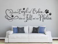 wahre Engel haben Fell & 4 Pfoten - Hund Katze Haustier Wandaufkleber WandTattoo