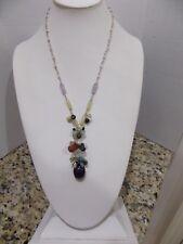 925 Sterling Silver Semi Precious Multi Stone Turquoise Jade Amethyst+ Necklace