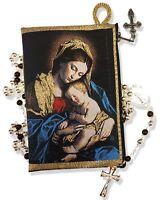 Catholic Madonna & Child Tapestry Keepsake Rosary Icon Pouch 5 3/8 Inch