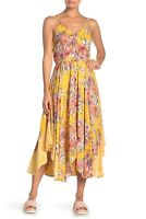NWT Angie Yellow Scarf Hem Floral Button Summer Sun Maxi Midi Boho Dress S/M/L