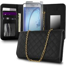 for Samsung Galaxy On7 Wallet Case - Black Purse Quilted Bag Mirror Pouch