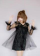 Black Transparent Lace Cover Dress with Stars Moon+Black Vest One Set Dress Suit