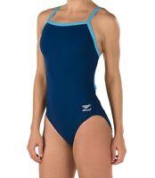 Speedo Women's Swimwear Blue Size 8 One-Piece Open-Back Contrast-Trim $69 #930
