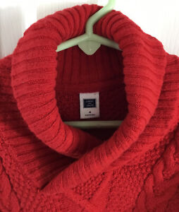 Janie and Jack Boy's Red Shawl Neck Pullover Sweater Cotton Nylon Wool Size 4