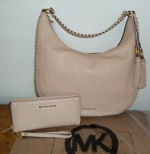 NWT Michael Kors Lauryn Shoulder Bag Tote & Continental Leather Wallet Oyster