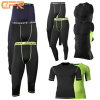 Mens Compression Base Layer Top Sleeve Thermal Gym Sports T-Shirt Shorts Skins