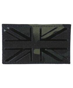 UNION JACK BLACK BTP PATCH LASER CUT BADGE HOOK & LOOP BACKING UK Flag cap
