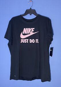 RARE Nike Dri-FIT Swoosh Logo Women's Black T-shirt DR1389 010 Size XXL