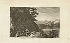 grotto del cane - on the lake of agnano in italy  .1821 engraving !