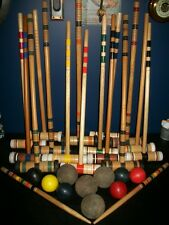 Large Lot Vintage Croquet Balls and Wooden Mallets