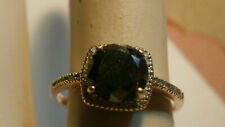 Black Diamond 2 Carat Center 10kt Rose Gold Ring With Diamond Shoulders