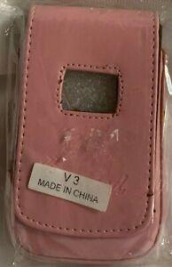 MOTOROLA RAZR  V3  PINK LEATHER  CELL PHONE CASE  w/ BELT BUCKLE CLIP  *  NEW