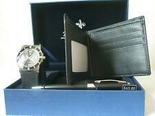 BELLA & ROSE MENS QUARTZ WATCH, FOLDING WALLET & PEN SET - BRAND NEW - BLACK