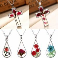Fashion Transparent Resin Dried Rose Flower Cross Pendant Necklace Jewellery
