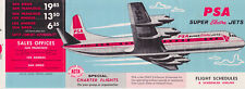 1962 PSA Pacific Southwest Airlines timetable Flight Schedule Timetable 10/1/62