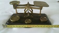 Vintage Antique Postal Letter Scales With Brass Weights