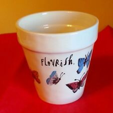 "Lovely Flower pot with Butterflies and the word ""Flourish""  NEW over 4"" Tall"