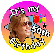 IT'S MY 50th BIRTHDAY BADGE (FEMALE) - BIG PERSONALISED BADGE, PHOTO, ANY AGE