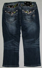 Youth Girls Miss Me Cuffed Capri Cropped Sequins Bling Denim Jeans Size 14