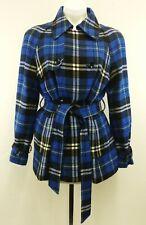 Jones Wear Women Coat, Size Medium, blue plaid, acrylic, wool