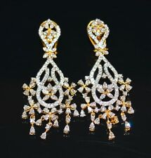 CERTIFIED NATURAL 6.01CTS VS G DIAMOND 18K SOLID GOLD DANGLE CHANDELIER EARRINGS
