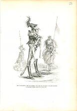 Criquet officier Sabre Sauterelle Insecte Singe ANTHROPOMORPHISME 1842 GRAVURE