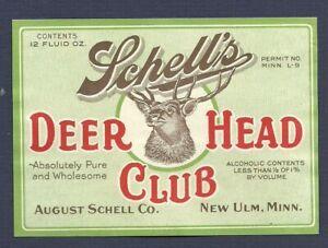 Schell 's Dear Head Club prohibition near beer label, New Ulm, MN, non- IRTP